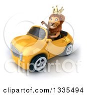 Clipart Of A 3d Male Lion King Giving A Thumb Down And Driving A Yellow Convertible Car 2 Royalty Free Vector Illustration by Julos