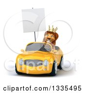 Clipart Of A 3d Male Lion King Holding A Blank Sign And Driving A Yellow Convertible Car 3 Royalty Free Vector Illustration by Julos