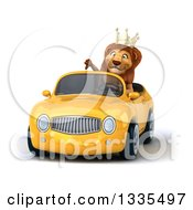 Clipart Of A 3d Male Lion King Giving A Thumb Down And Driving A Yellow Convertible Car Royalty Free Vector Illustration by Julos