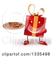 Clipart Of A 3d Happy Red Gift Character Holding And Pointing To A Pizza Royalty Free Illustration by Julos