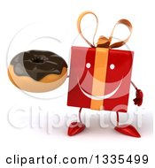 Clipart Of A 3d Happy Red Gift Character Holding A Chocolate Frosted Donut Royalty Free Illustration by Julos