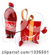 Clipart Of A 3d Happy Red Gift Character Holding Up A Thumb And A Soda Bottle Royalty Free Illustration by Julos