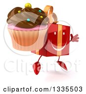 Clipart Of A 3d Happy Red Gift Character Facing Slightly Right Jumping And Holding A Chocolate Frosted Cupcake Royalty Free Illustration by Julos