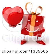 Clipart Of A 3d Happy Red Gift Character Holding And Pointing To A Heart Royalty Free Illustration by Julos