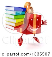 Clipart Of A 3d Happy Red Gift Character Facing Slightly Right Jumping And Holding A Stack Of Books Royalty Free Illustration by Julos