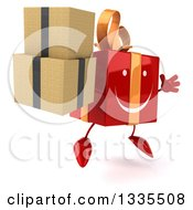 Clipart Of A 3d Happy Red Gift Character Facing Slightly Right Jumping And Holding Boxes Royalty Free Illustration by Julos