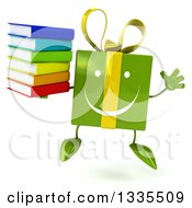 Clipart Of A 3d Happy Green Gift Character Jumping And Holding A Stack Of Books Royalty Free Illustration