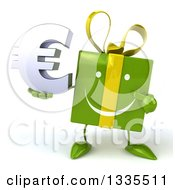 Clipart Of A 3d Happy Green Gift Character Holding And Pointing To A Euro Symbol Royalty Free Illustration