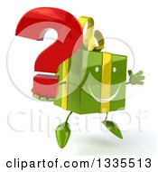 Clipart Of A 3d Green Gift Character Facing Slightly Right Jumping And Holding A Question Mark Royalty Free Illustration