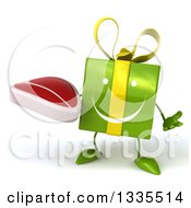 Clipart Of A 3d Happy Green Gift Character Shrugging And Holding A Beef Steak Royalty Free Illustration