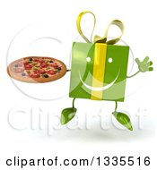 Clipart Of A 3d Happy Green Gift Character Jumping And Holding A Pizza Royalty Free Illustration