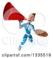 Clipart Of A 3d Young White Male Super Hero In A Light Blue Suit Holding A Pizza And Announcing Upwards With A Megaphone Royalty Free Illustration