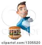 Clipart Of A 3d Young White Male Super Hero In A Light Blue Suit Holding A Double Cheeseburger Around A Sign Royalty Free Illustration