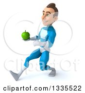 Clipart Of A 3d Young White Male Super Hero In A Light Blue Suit Speed Walking To The Left And Holding A Green Apple Royalty Free Illustration