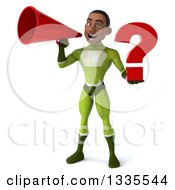 Clipart Of A 3d Young Black Male Super Hero In A Green Suit Holding A Question Mark And Announcing With A Megaphone Royalty Free Illustration