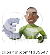 Clipart Of A 3d Young Black Male Super Hero In A Green Suit Holding A Euro Currency Symbol Over A Sign Royalty Free Illustration