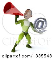 Clipart Of A 3d Young Black Male Super Hero In A Green Suit Holding An Email Arobase At Symbol And Announcing With A Megaphone Royalty Free Illustration