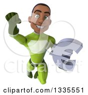 Clipart Of A 3d Young Black Male Super Hero In A Green Suit Holding A Euro Currency Symbol And Flying Royalty Free Illustration