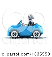 Clipart Of A 3d White And Blue Robot Driving A Blue Convertible Car Royalty Free Vector Illustration