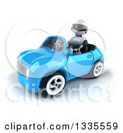 Clipart Of A 3d White And Blue Robot Driving A Blue Convertible Car 2 Royalty Free Vector Illustration