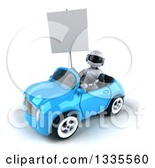 Clipart Of A 3d White And Blue Robot Holding A Blank Sign And Driving A Blue Convertible Car Royalty Free Vector Illustration