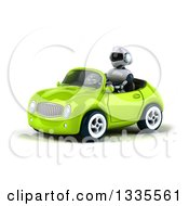 Clipart Of A 3d White And Blue Robot Driving A Green Convertible Car Royalty Free Vector Illustration