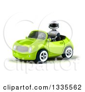 Clipart Of A 3d White And Blue Robot Driving A Green Convertible Car 2 Royalty Free Vector Illustration
