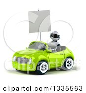 Clipart Of A 3d White And Blue Robot Holding A Blank Sign And Driving A Green Convertible Car Royalty Free Vector Illustration