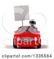 Clipart Of A 3d White And Blue Robot Holding A Blank Sign And Driving A Red Convertible Car Royalty Free Vector Illustration