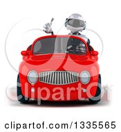 Clipart Of A 3d White And Blue Robot Giving A Thumb Up And Driving A Red Convertible Car Royalty Free Vector Illustration