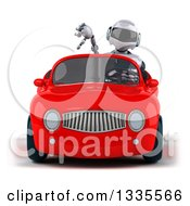 Clipart Of A 3d White And Blue Robot Giving A Thumb Down And Driving A Red Convertible Car Royalty Free Vector Illustration