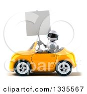 Clipart Of A 3d White And Blue Robot Holding A Blank Sign And Driving A Yellow Convertible Car Royalty Free Vector Illustration