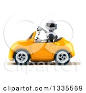 Clipart Of A 3d White And Blue Robot Giving A Thumb Down And Driving A Yellow Convertible Car Royalty Free Vector Illustration