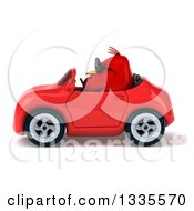 Clipart Of A 3d Chubby Red Bird Wearing Sunglasses And Driving A Red Convertible Car Royalty Free Vector Illustration