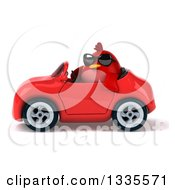 Clipart Of A 3d Chubby Red Bird Wearing Sunglasses And Driving A Red Convertible Car 2 Royalty Free Vector Illustration