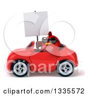Clipart Of A 3d Chubby Red Bird Wearing Sunglasses Holding A Blank Sign And Driving A Red Convertible Car Royalty Free Vector Illustration