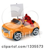 Clipart Of A 3d Chubby Red Bird Wearing Glasses Holding A Blank Sign And Driving An Orange Convertible Car Royalty Free Vector Illustration