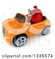 Clipart Of A 3d Chubby Red Bird Wearing Glasses And Driving An Orange Convertible Car Royalty Free Vector Illustration