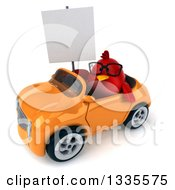 Clipart Of A 3d Chubby Red Bird Wearing Glasses Holding A Blank Sign And Driving An Orange Convertible Car 2 Royalty Free Vector Illustration