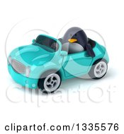Clipart Of A 3d Penguin Driving A Turquoise Convertible Car 3 Royalty Free Vector Illustration