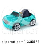 Clipart Of A 3d Penguin Driving A Turquoise Convertible Car 2 Royalty Free Vector Illustration