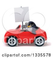 Clipart Of A 3d Penguin Wearing Sunglasses Holding A Blank Sign And Driving A Red Convertible Car Royalty Free Vector Illustration