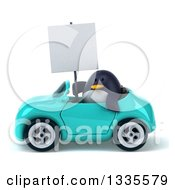 Clipart Of A 3d Penguin Holding A Blank Sign And Driving A Turquoise Convertible Car Royalty Free Vector Illustration