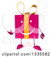 Clipart Of A 3d Happy Pink Gift Character Presenting Royalty Free Illustration