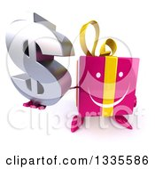 Clipart Of A 3d Happy Pink Gift Character Holding Up A Dollar Symbol Royalty Free Illustration by Julos