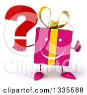 Clipart Of A 3d Pink Gift Character Giving A Thumb Up And Holding A Question Mark Royalty Free Illustration by Julos