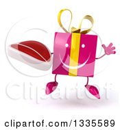 Clipart Of A 3d Happy Pink Gift Character Jumping And Holding A Beef Steak Royalty Free Illustration by Julos