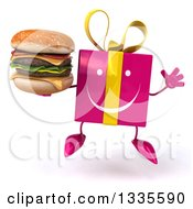 Clipart Of A 3d Happy Pink Gift Character Jumping And Holding A Double Cheeseburger Royalty Free Illustration