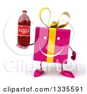 Clipart Of A 3d Happy Pink Gift Character Holding A Soda Bottle Royalty Free Illustration by Julos