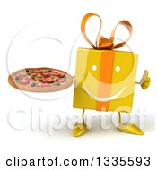 Clipart Of A 3d Happy Yellow Gift Character Giving A Thumb Up And Holding A Pizza Royalty Free Illustration by Julos